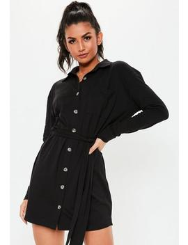 Black Jersey Tie Waist Utility Shirt Dress by Missguided