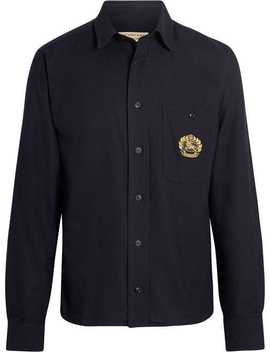 Embroidered Crest Flannel Shirt by Burberry