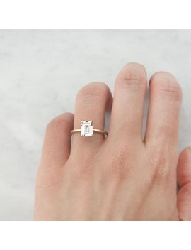 Natural White Sapphire Ring,14 K White Gold,Emerald Cut Engagement Ring,Wedding Ring,Anniversary Gift For Her,Promise Ring, Fine Jewelry by Etsy
