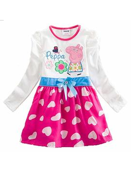 Peppa Pig Baby Girls Kid Child Long Sleeve Winter Hot Pink Polka Hearts Dress by Generic