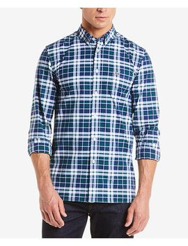 Men's Slim Fit Stretch Oxford Plaid Shirt by Lacoste