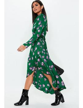 Green Floral Midi Shirt Dress by Missguided