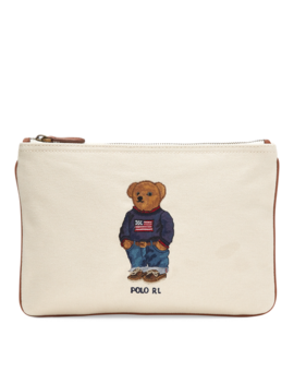 Polo Bear Canvas Zip Pouch by Ralph Lauren