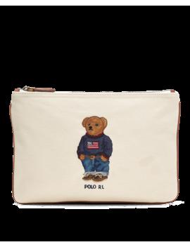 Polo Bear Canvas Zip Pouch by Ralph Lauren