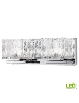 60 Watt Equivalent 2 Light  Chrome Integrated Led Vanity Light With Clear Cube Glass by Home Decorators Collection