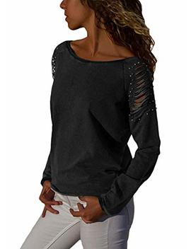 Asvivid Womens Casual Strappy Cold Shoulder Long Sleeve T Shirt Tops Blouses With Pearl Beaded by Asvivid