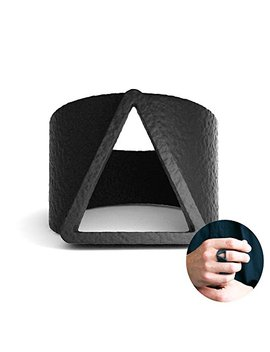Evbea Mens Black Ring Unique Classic Matte Finish Triangle Engraved Bands by Evbea
