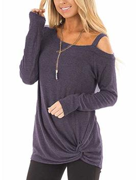 Zilin Women's Cold Shoulder T Shirt Long Sleeve Knot Twist Front Tunic Tops by Zilin