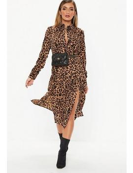 Brown Leopard Midi Shirt Dress by Missguided
