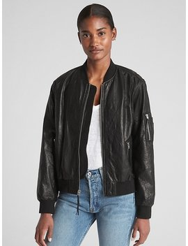 Paper Leather Bomber Jacket by Gap