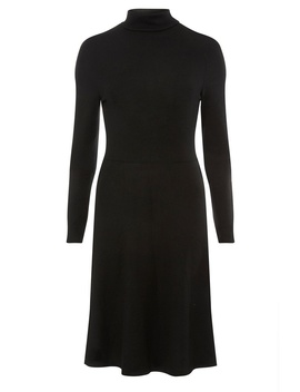 **Tall Black Brushed Popper Sleeve Skater Dress by Dorothy Perkins
