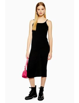 Petite Ribbed Midi Bodycon Dress by Topshop