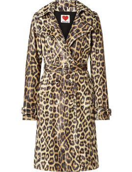 Leopard Print Faux Fur Trench Coat by House Of Fluff