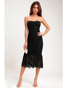 Divine Nights Black Lace Strapless Midi Dress by Lulus