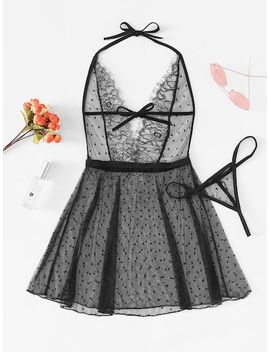 Deep V Eyelash Lace Dress With Thong by Sheinside