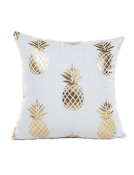 "4 Th Emotion Gold Pineapple Throw Pillow Case Cushion Cover 18"" X 18"" Inch Cotton Linen by 4 Th Emotion"