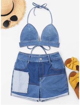 Halter Deim Shorts Set   Jeans Blue L by Zaful