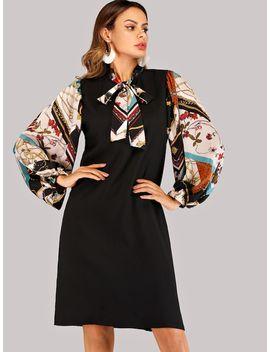 Tie Neck Scarf Print Sleeve Dress by Shein