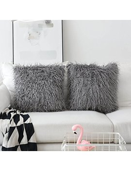 Home Brilliant Merino Style Mongolian Decorative Faux Fur Throw Pillow Covers Accent Cushion Pillow Cases For Couch, 18x18inches, 45cm, Set Of 2, Dark Grey by Home Brilliant