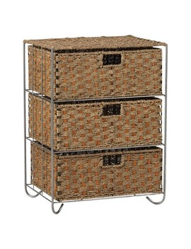 Household Essentials Seagrass And Rattan 3 Drawer Storage Unit by Household Essentials