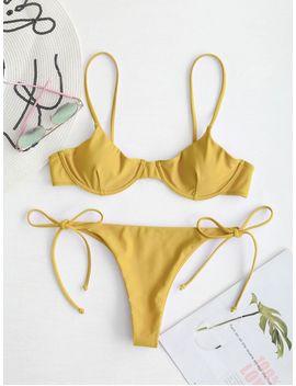 Zaful Tie Underwire Balconette Bikini Set   Mustard L by Zaful