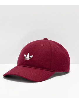 Adidas Originals Relaxed Wool Burgundy &Amp; White Strapback Hat by Adidas