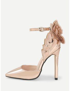 Butterfly Back Metallic Heels by Shein