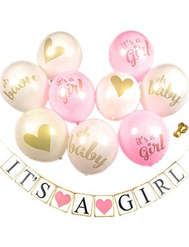 Baby Shower Party Decorations Decoration Decor Pre Assembled Banner (It's A Girl) & 9 Pc Balloons W/Ribbon [Gold, Pink, White] Kit Set Supplies Bundle | Hang On Wall Chair Door | It Is A Girl by You Party