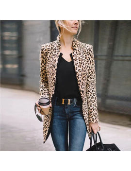 Us Women Ladies Leopard Jacket Coats Zip Up Lapel Suit Casual Tops Coat Outwear by Unbranded