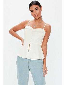 Cream Button Front Tux Cami Top by Missguided