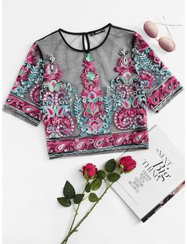 Flower Embroidery Mesh Crop Top by Shein