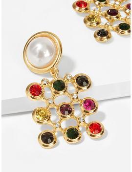 Color Block Gemstone Square Drop Earrings 1pair by Shein