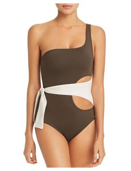 Color Block Wrap One Shoulder One Piece Swimsuit by Vince Camuto