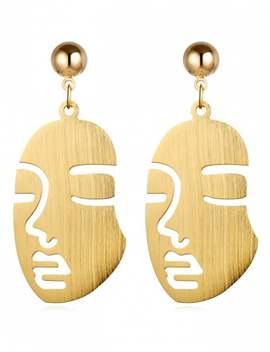 Punk Human Face Alloy Drop Earrings   Gold by Zaful