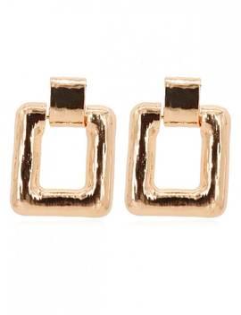 Geometric Square Shape Metal Earrings   Gold by Zaful