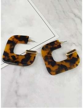 Geometric Leopard Printed Earrings   Coffee by Zaful