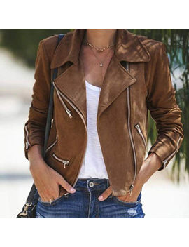 Us Women Ladies Leather Jacket Coats Zip Up Biker Casual Flight Top Coat Outwear by Urkutoba