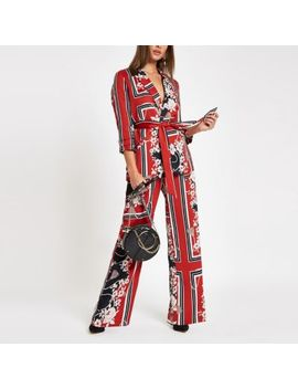 Red Floral D Ring Belted Wide Leg Trousers by River Island