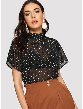 Mock Neck Dot Sheer Blouse by Shein
