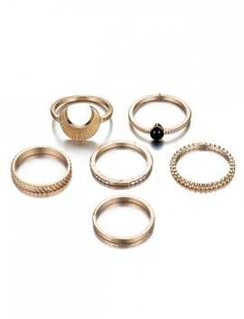 6 Pcs Rhinestoned Vintage Design Metal Rings Set   Gold by Zaful
