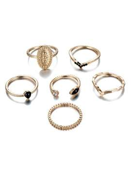 6 Pcs V Shape Rhinestoned Metal Rings Set   Gold by Zaful