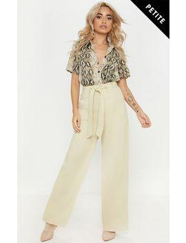 Petite Cream Woven Belt Detail Wide Leg Pants by Prettylittlething