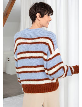 Striped Mock Neck Wool Blend Sweater by & Other Stories