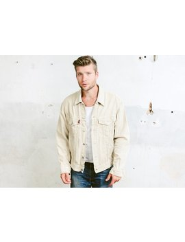 Mens Corduroy Trucker Jacket . Vintage Beige Button Down Shirt 90s Grunge Cord Long Sleeve Unisex Boyfriend Gift For Him . Size Medium M by Etsy