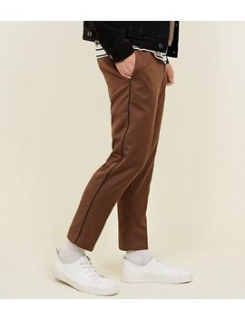Tan Side Piped Trousers by New Look