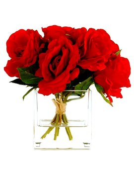 Lcg Florals Rose Bouquet In A Cube With Faux Water & Reviews by Lcg Florals