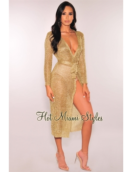 Gold Metallic Belted Duster Coat/Wrap Dress by Hot Miami Style