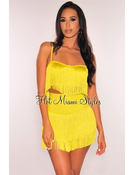 Neon Lime Fringe Bustier Skirt Two Piece Set by Hot Miami Style