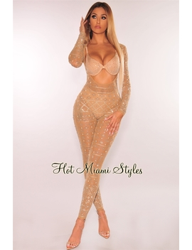 Nude Silver Iridescent Rhinestone Studded Cut Out Bra Jumpsuit by Hot Miami Style