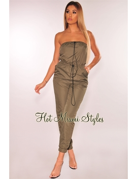 Olive Strapless Windbreaker Drawstring Jumpsuit by Hot Miami Style